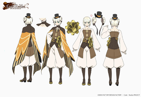 tv anime  u201ccode  realize u201d illustrations for main characters were unveiled